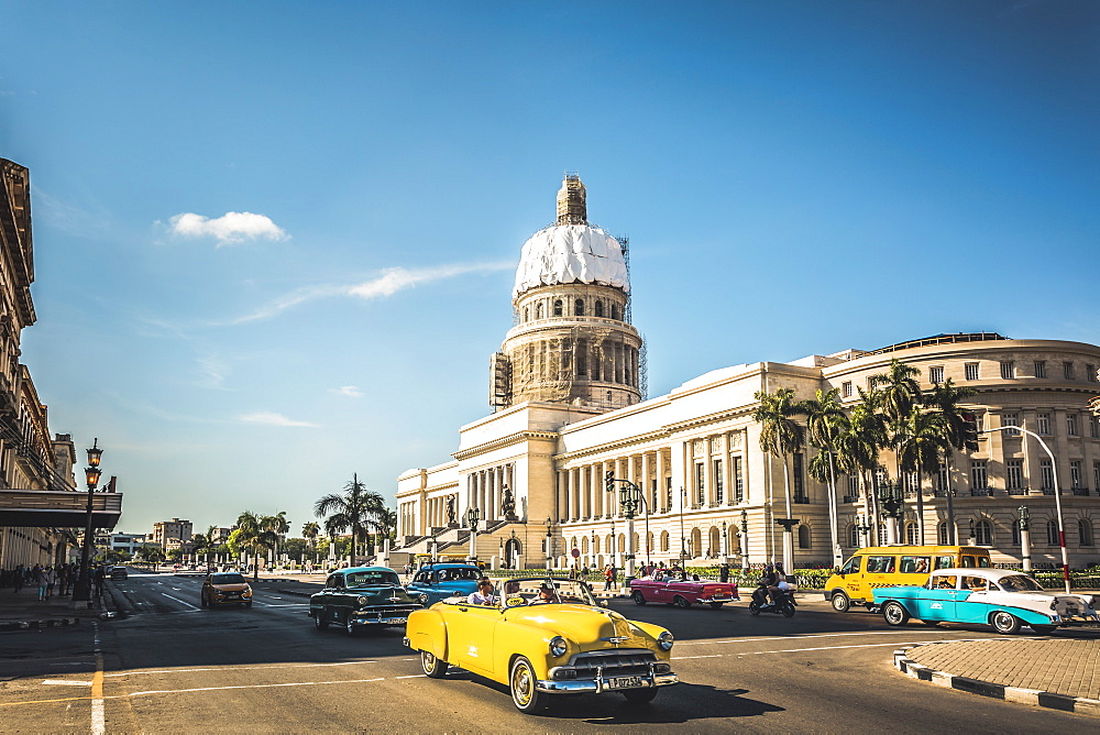 A yellow American classic car outside El Capitolio in Havana, La Habana, Cuba, West Indies, Caribbean, Central America