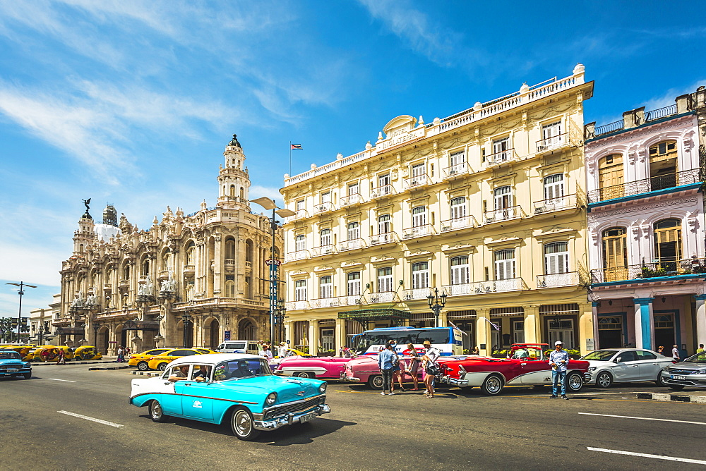 Colourful old American taxi cars outside the Gran Teatro de La Habana, Havana, Cuba, West Indies, Caribbean, Central America