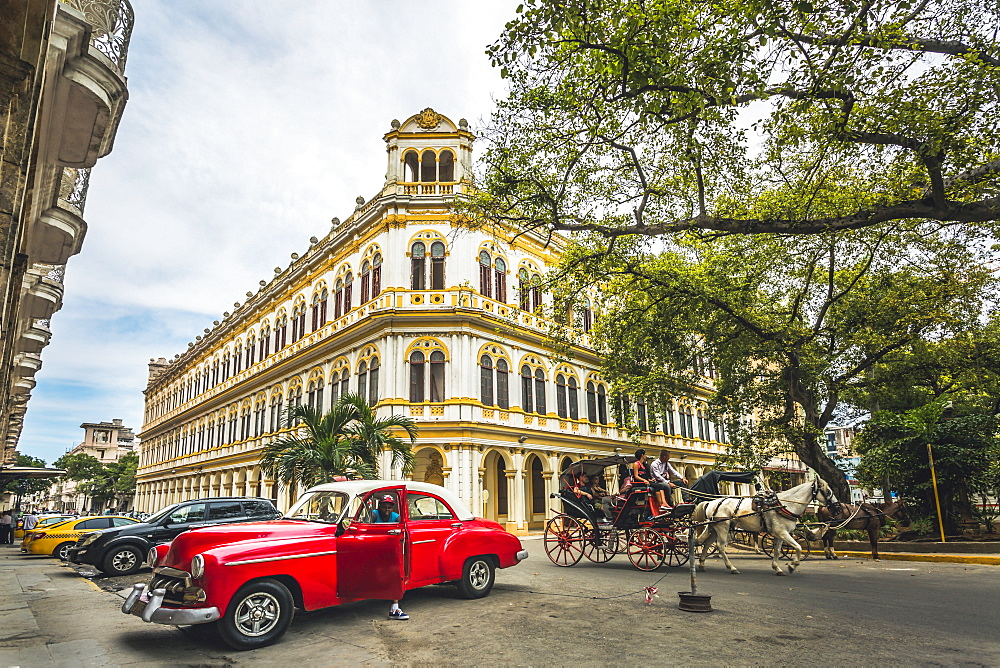 Vintage taxi car parked next to Escuela National de Ballet in La Habana, Havana, Cuba, West Indies, Caribbean, Central America