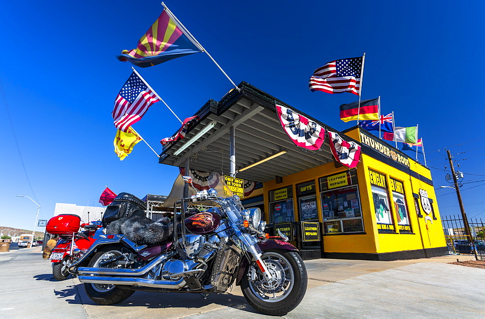 Harley Davidson motorcycle and Historic building on Route 66, Kingman, Arizona, United States of America, North America
