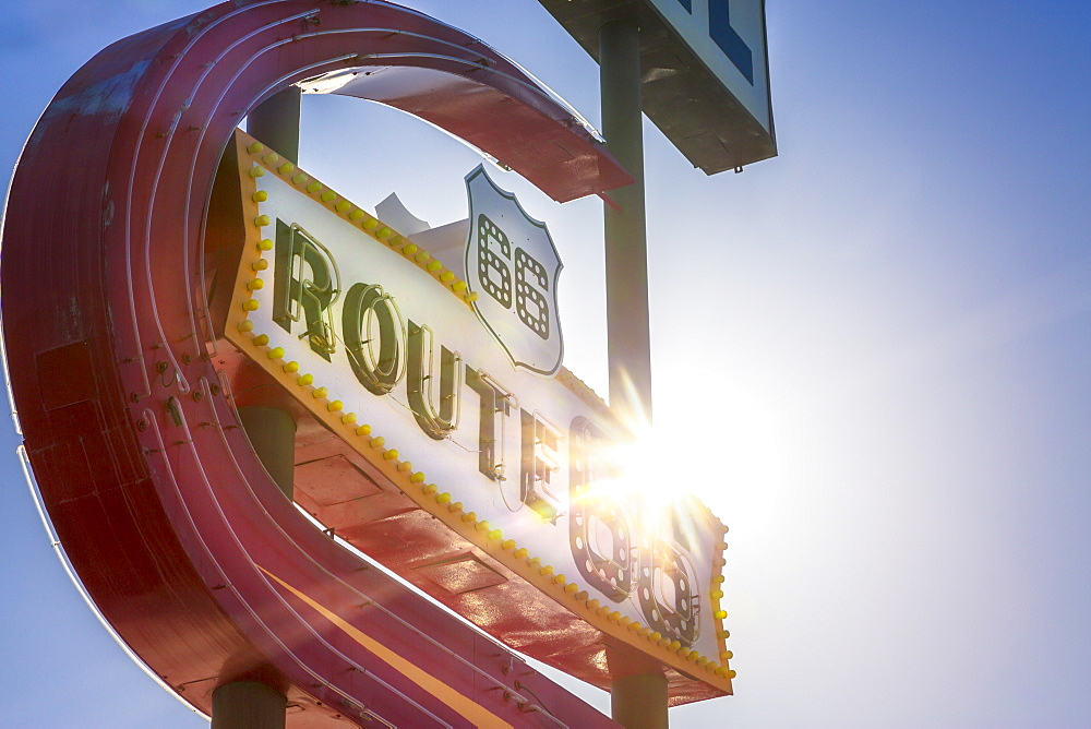 Route 66 Motel Sign, Kingman, Arizona, United States of America, North America - 1276-167