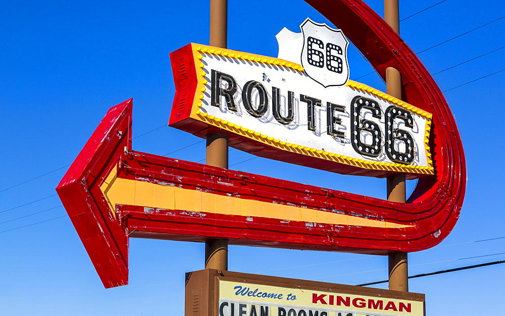 Route 66 Motel Sign, Kingman, Arizona, United States of America, North America - 1276-168