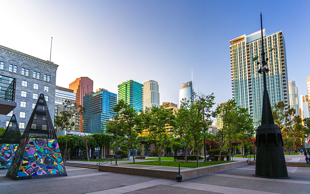 Grand Hope Park, Downtown financial district of Los Angeles city, California, United States of America, North Americav