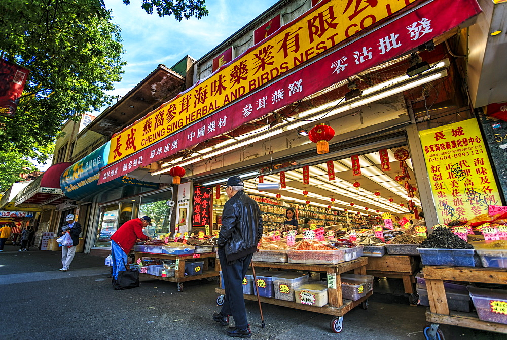 Colourful produce store and shoppers in Chinatown, Vancouver, British Columbia, Canada, North America