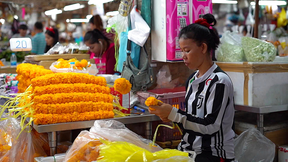 Video of Bangkok street market at night, food, flowers, Thailand, SouthEast Asia - 1276-2527