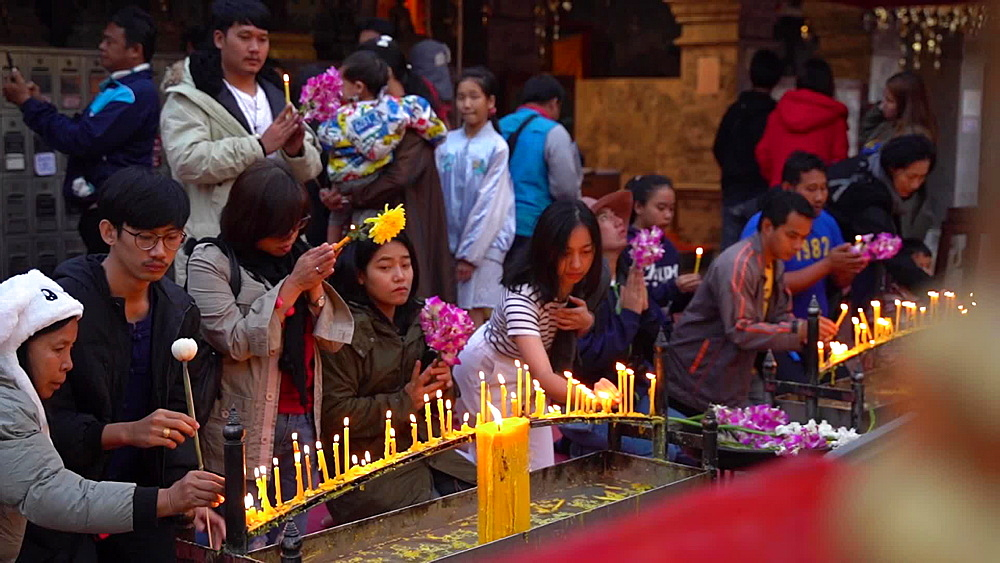 Video of thai locals praying at Wat Phra That Doi Suthep temple, Chiang Mai, Thailand, Southeast Asia, Asia - 1276-2539