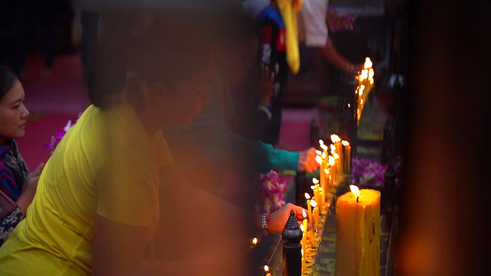 Video of thai locals praying at Wat Phra That Doi Suthep temple, Chiang Mai, Thailand, Southeast Asia, Asia