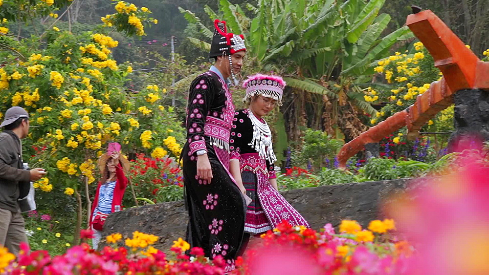 Young Thai girls in traditional clothing at Doi Pui Mong Hill Tribe Village, Hmong village, Chiang Mai, Thailand, Southeast Asia - 1276-2555