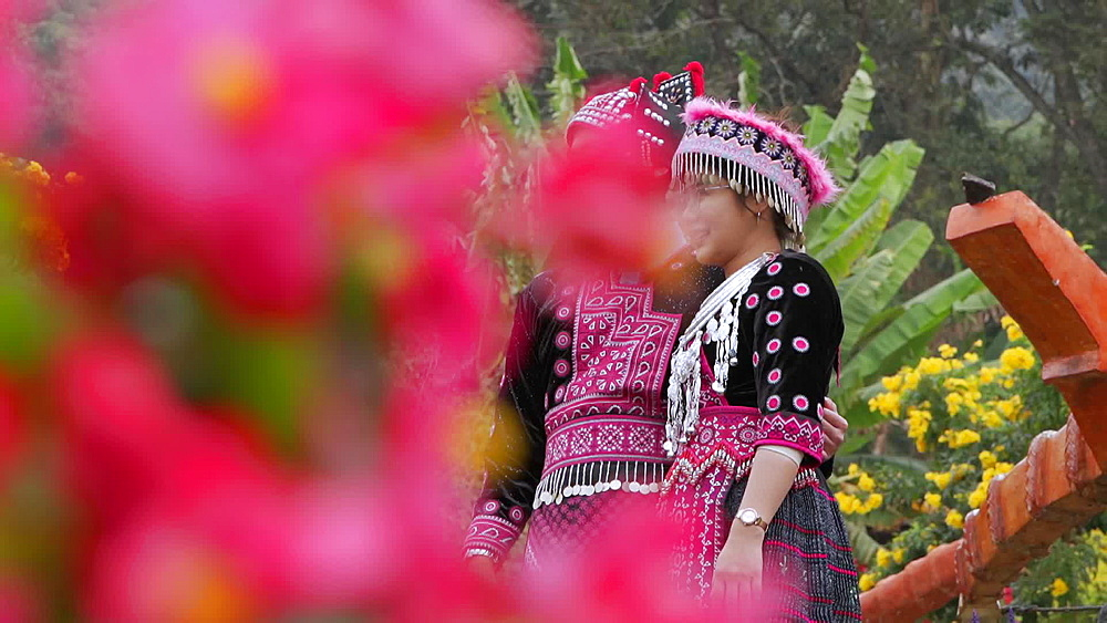 Young Thai girls in traditional clothing at Doi Pui Mong Hill Tribe Village, Hmong village, Chiang Mai, Thailand, Southeast Asia