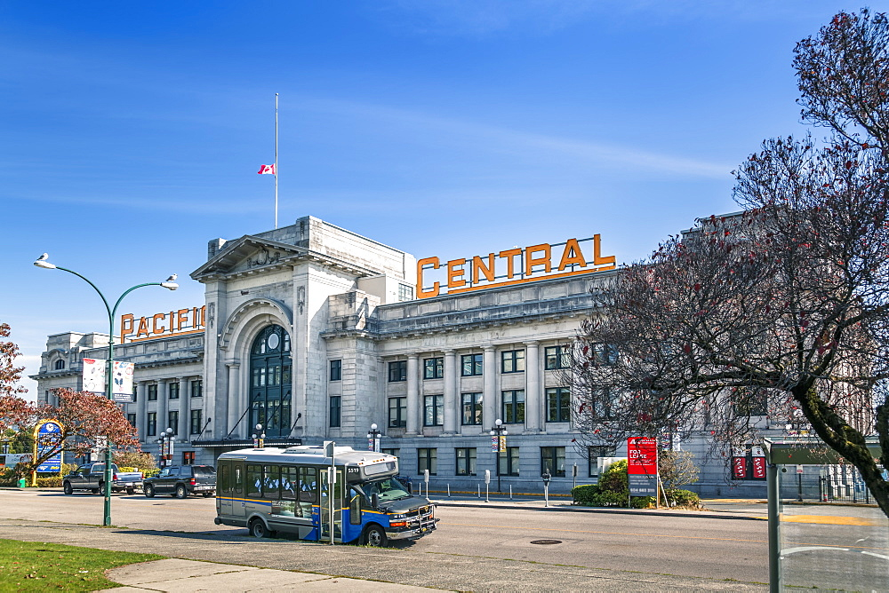 View of Pacific Central Station, Vancouver, British Columbia, Canada, North America