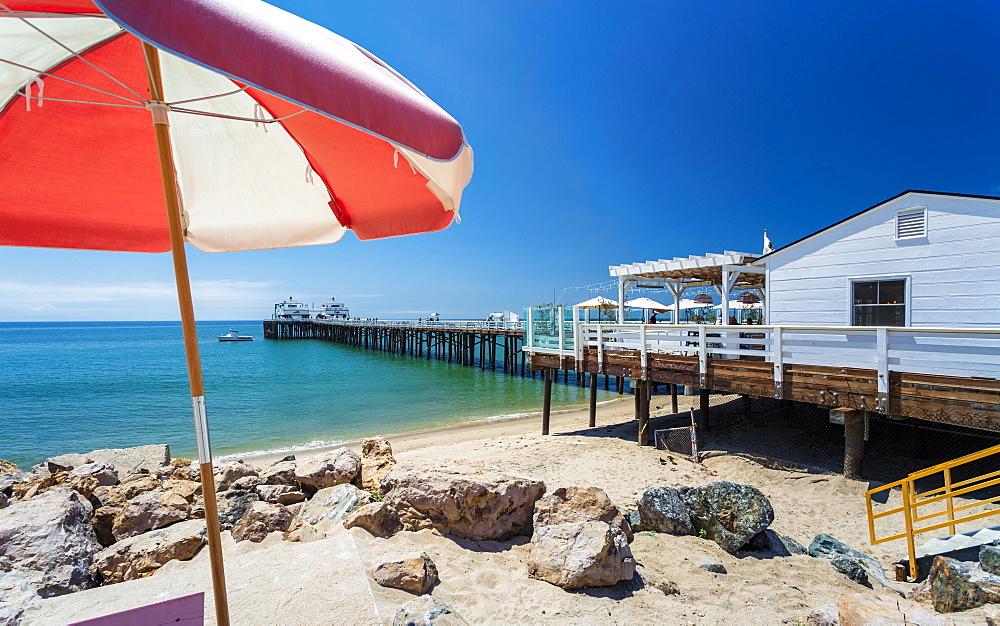 View of Malibu Beach and Malibu Pier, Malibu, California, United States of America, North America - 1276-266