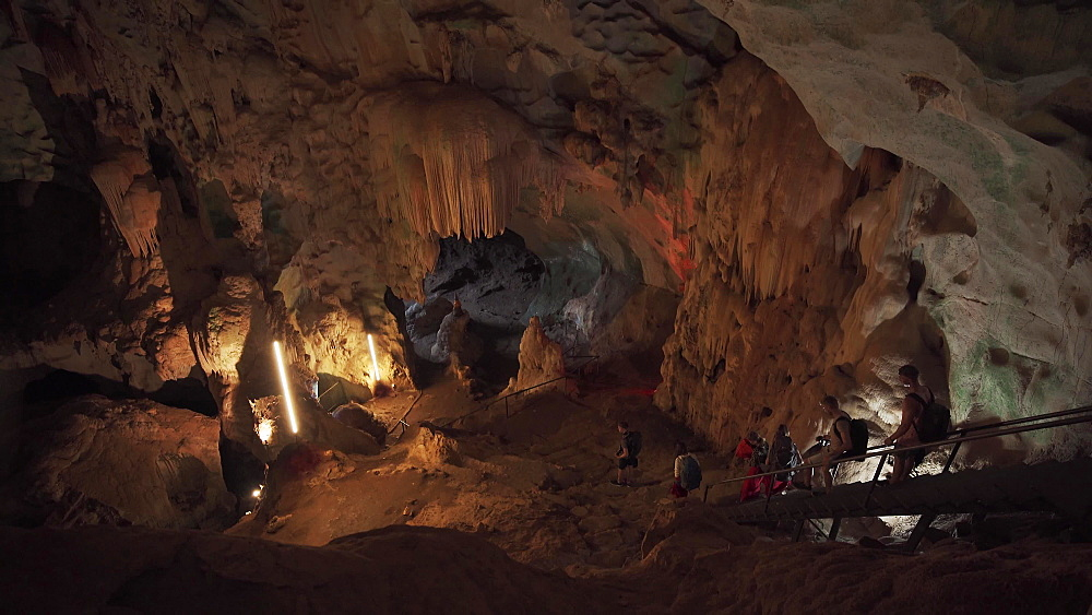 4k video of an inside of Wat Suwan Kuha or Cave Temple, Buddha Cave in Phang Nga, Thailand, South East Asia