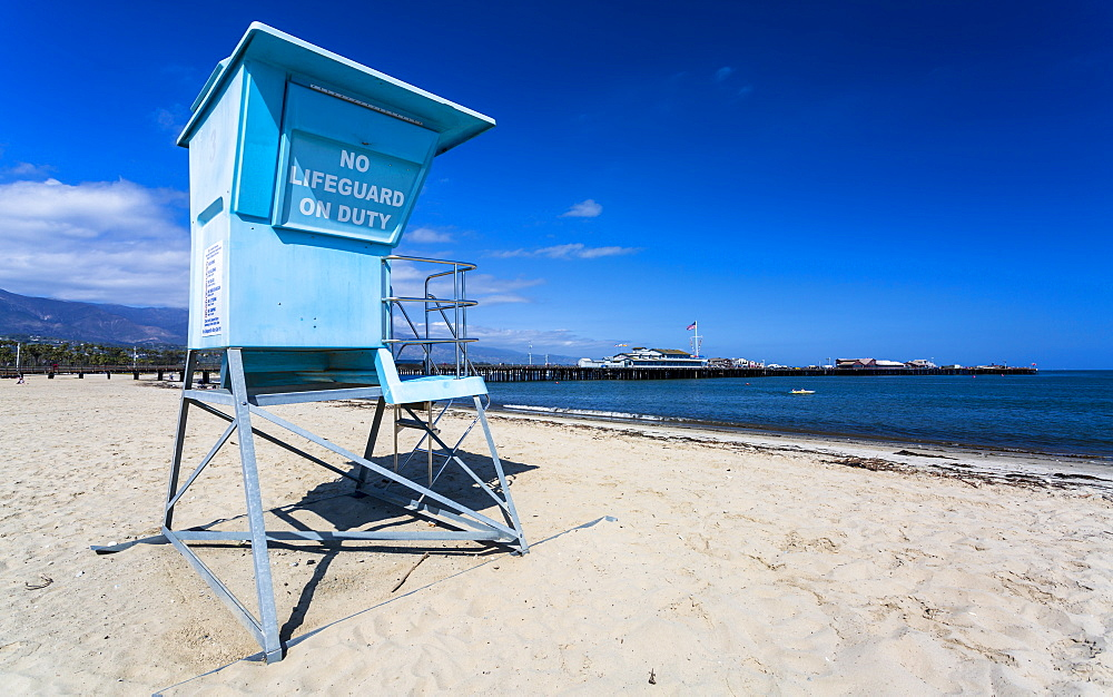 Santa Barbara beach and Santa Barbara pier, California, United States of America, North America - 1276-272