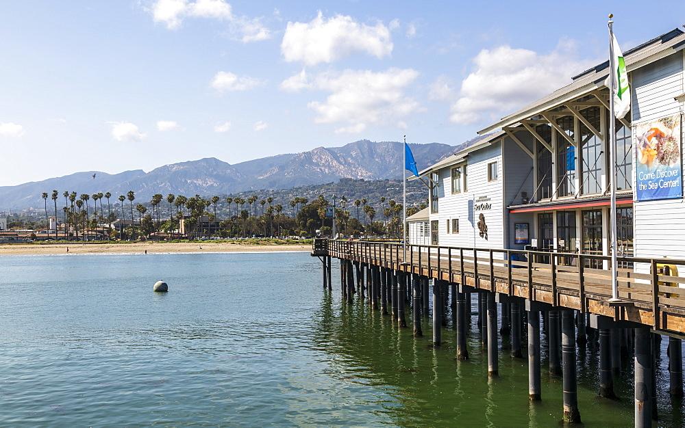 View of Santa Barbara beach, Malibu Mountains from Santa Barbara pier, California, United States of America, North America - 1276-275