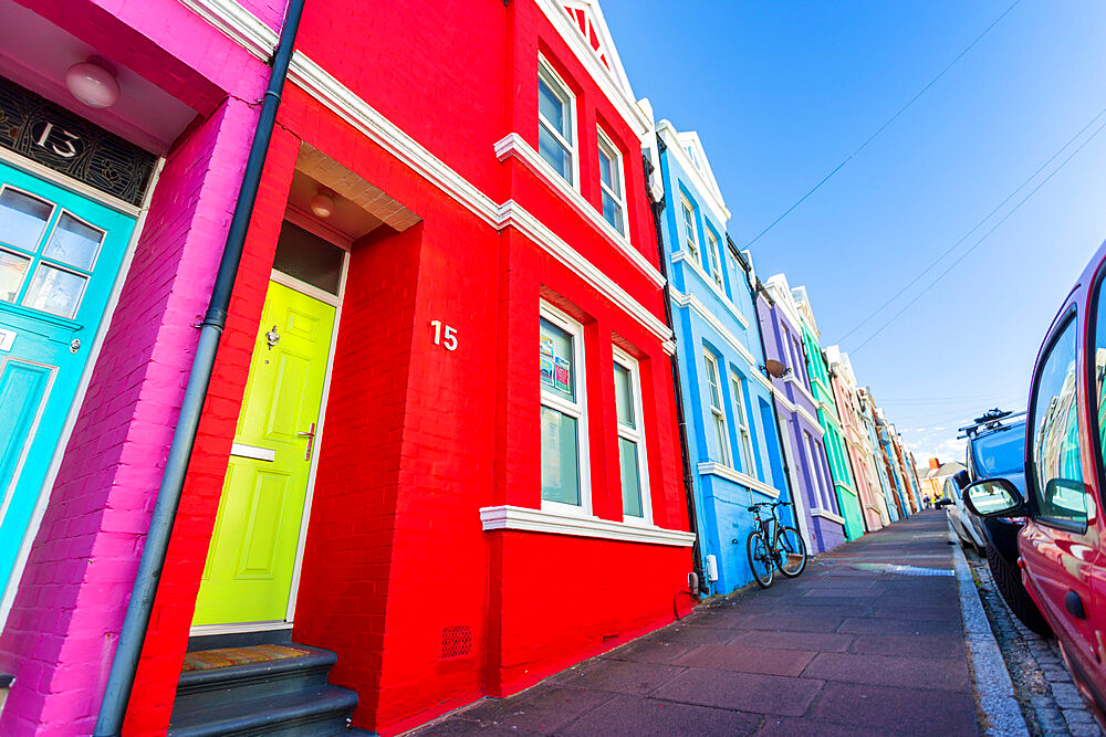 Colourful houses on Baker street, Brighton, East Sussex, England, United Kingdom, Europe - 1276-287