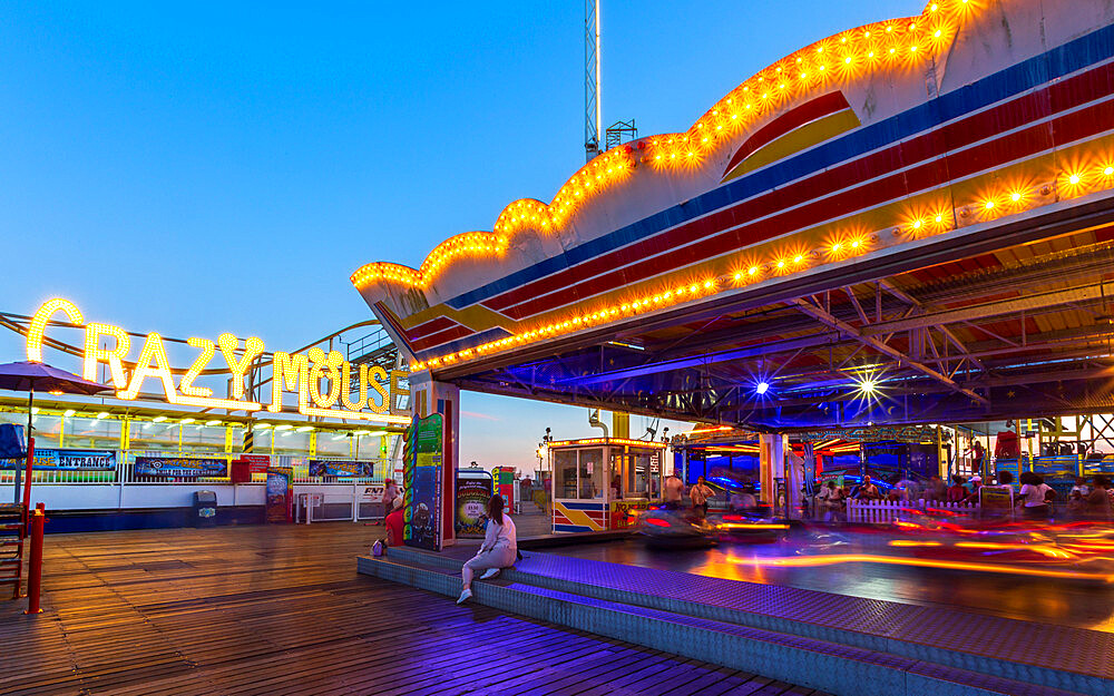 Brighton Palace Pier at dusk, East Sussex, England, United Kingdom, Europe