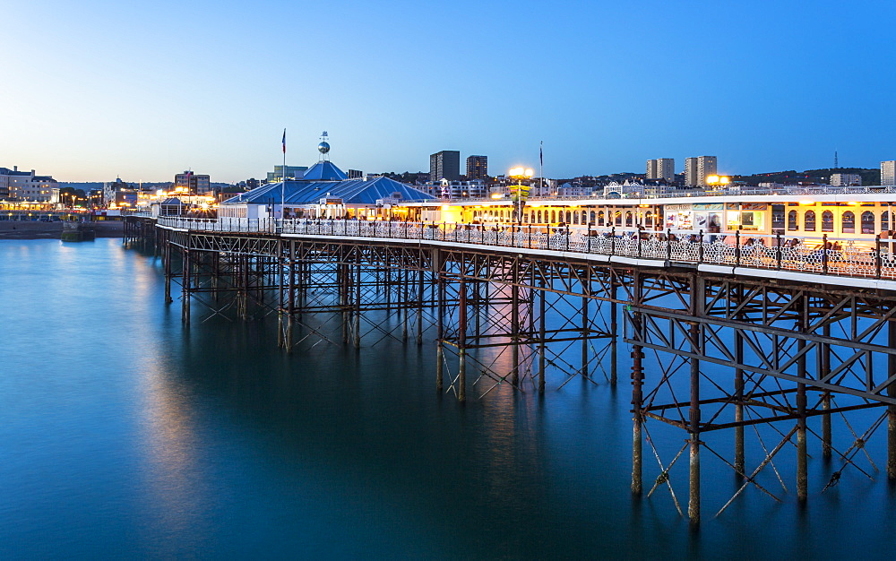 Brighton Palace Pier at night, East Sussex, England, United Kingdom, Europe - 1276-299