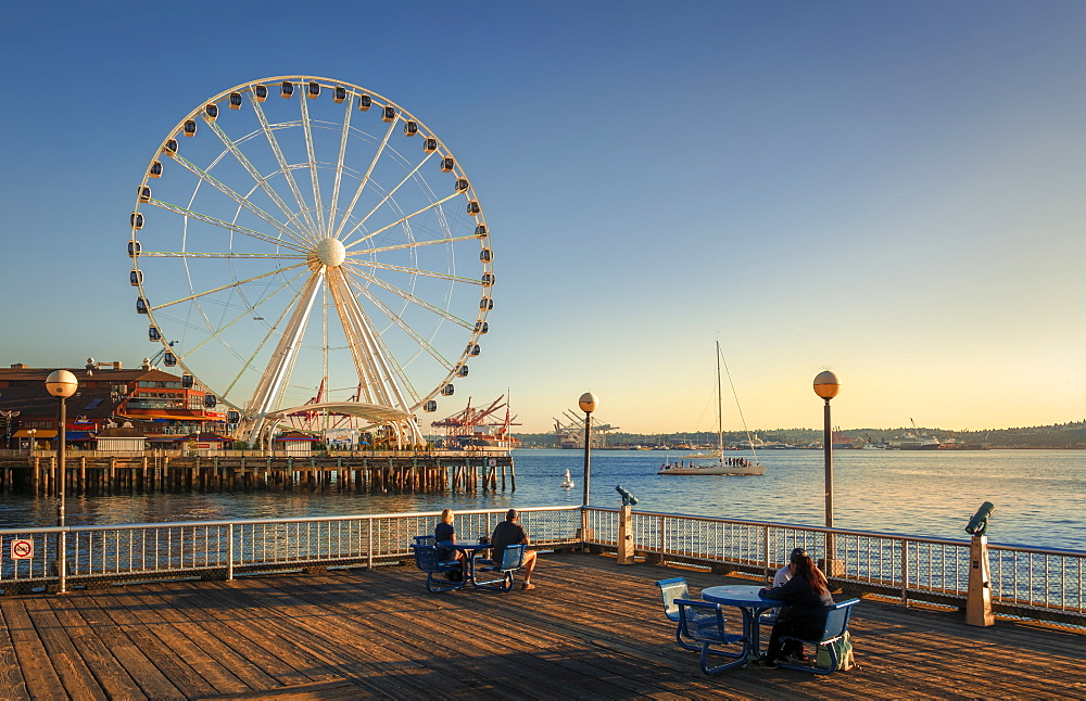 People enjoying the view of Seattle Great Wheel from Waterfront Park in Seattle, Washington State, United States of America, North America