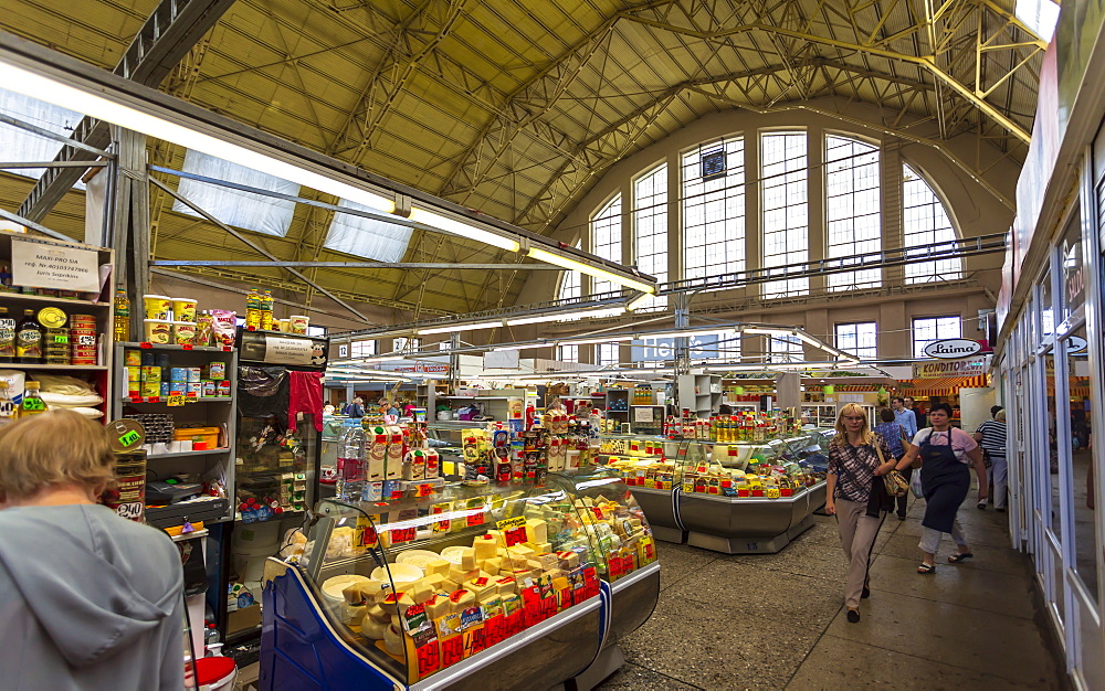 Interior of Riga Central Market, converted Zeppelin hangars, Riga, Baltic States, Latvia, Europe