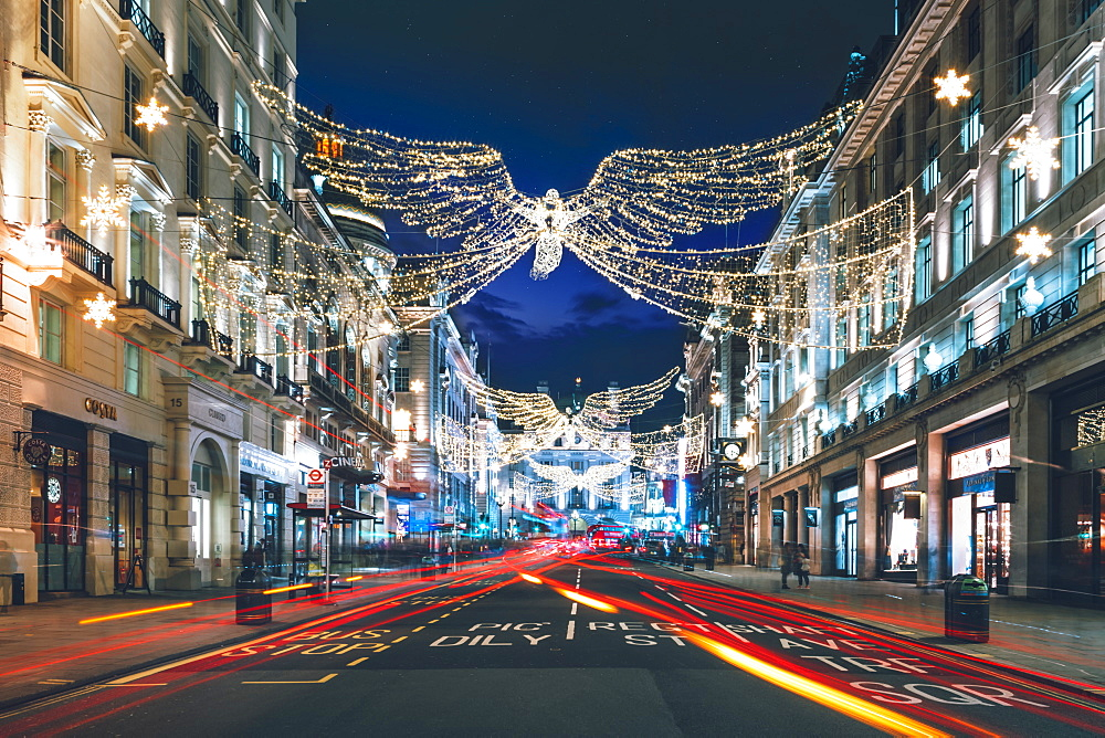 Festive Christmas lights in Regent Street at night in 2017, London, England, United Kingdom, Europe - 1276-35