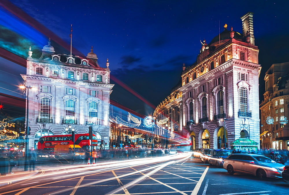 Traffic trails and Festive Christmas lights at night near Piccadilly Circus, London, England, United Kingdom, Europe - 1276-36