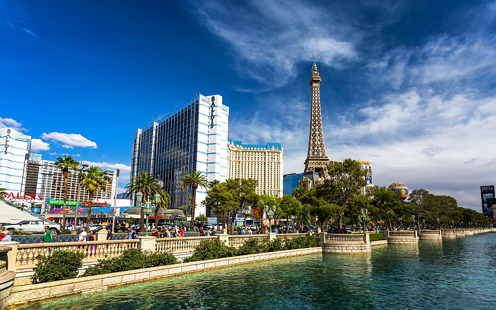 Paris Effel Tower and Ballys hotel, The Strip, Las Vegas Boulevard, Las Vegas, Nevada, United States of America, North America