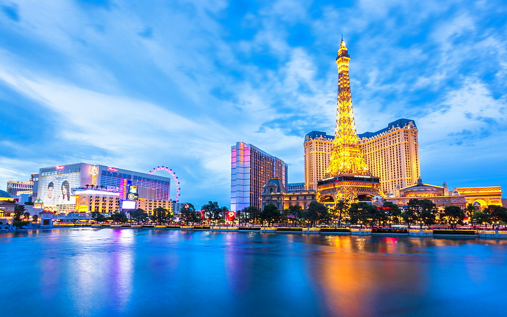 View of Eifel Tower of the Paris Hotel and Casino on The Strip at dusk, Las Vegas Boulevard, Las Vegas, Nevada, United States of America, North America