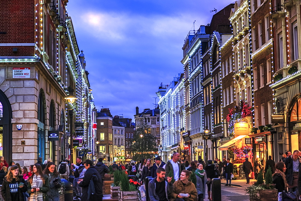 Shopping street near Covent Garden at Christmas, London, England, United Kingdom, Europe
