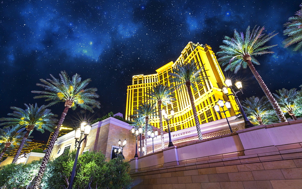 Palazzo hotel at night, The Strip, Las Vegas Boulevard, Las Vegas, Nevada, United States of America, North America