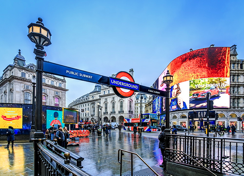 Entrance to tube station, advertisement, Piccadilly Circus, London, England, United Kingdom, Europe - 1276-40