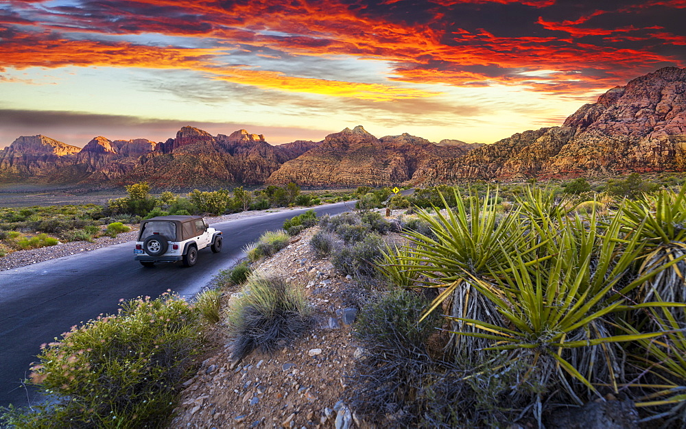 Car driving through The Red Rock Canyon National Recreation Area at sunset, Las Vegas, Nevada, United States of America, North America