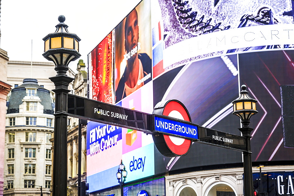 Entrance to tube station, advertisement, Piccadilly Circus, London, England, United Kingdom, Europe - 1276-41