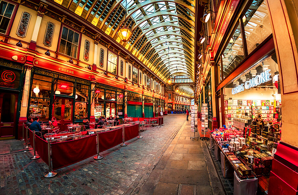 Fisheye view of interior of Leadenhall Market, The City, London, England, United Kingdom, Europe - 1276-42