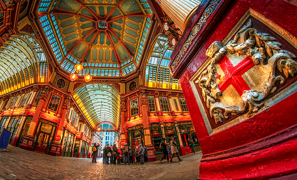 Fisheye view of interior of Leadenhall Market, The City, London, England, United Kingdom, Europe - 1276-44