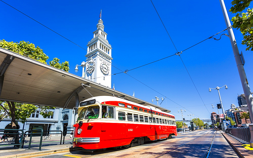 Ferry Building and Red Tram, San Francisco, California, United States of America, North America