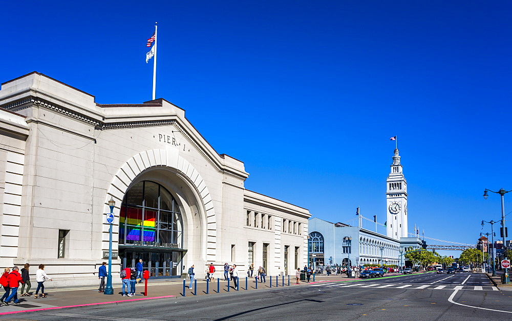 Pier 1 and Ferry Building, San Francisco, California, United States of America, North America - 1276-446