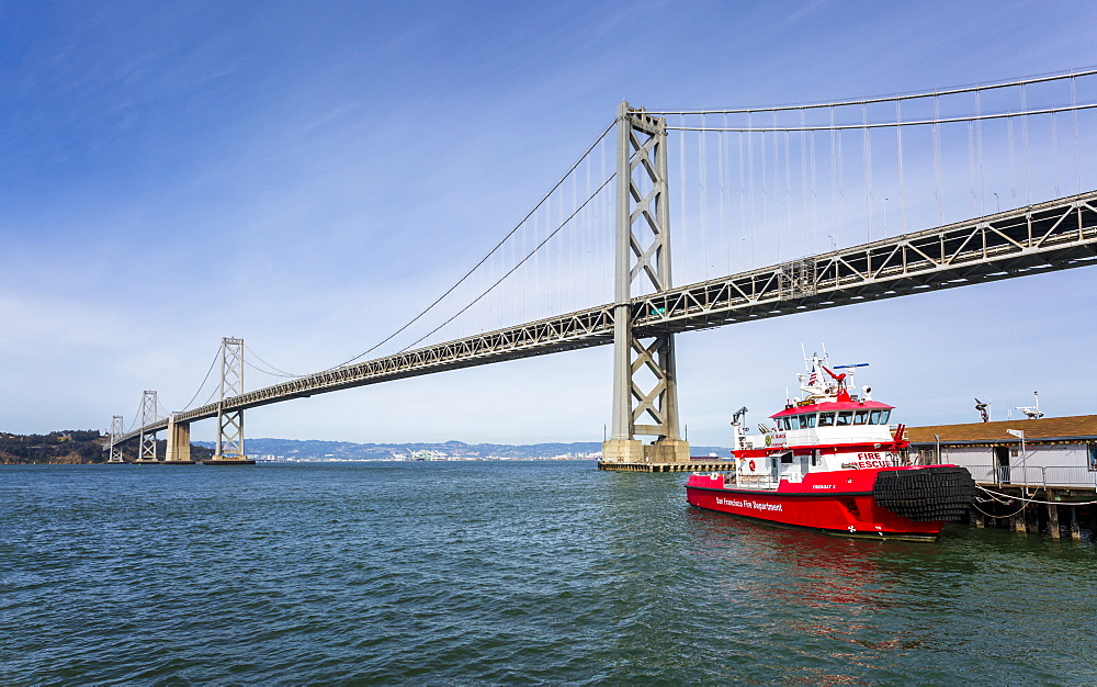 Oakland Bay Bridge and Fire Rescue Boat, San Francisco, California, United States of America, North America