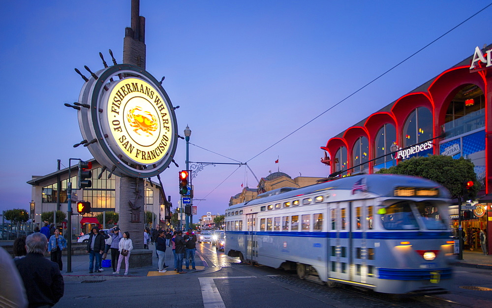 View of Fishermans Wharf sign at dusk, San Francisco, California, United States of America, North America - 1276-468