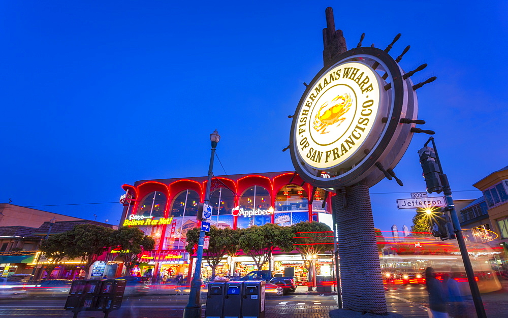 View of Fishermans Wharf sign at dusk, San Francisco, California, United States of America, North America - 1276-469