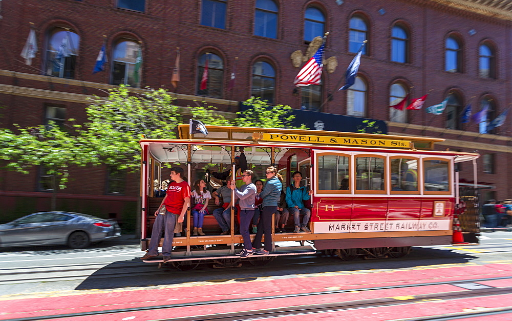 Fast moving cable car in Union Sqaure, San Francisco, California, United States of America, North America