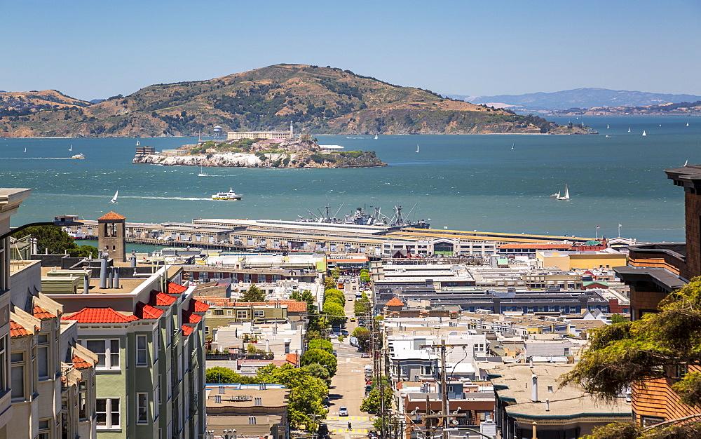 View of Alcatraz Island from Russian Hill, San Francisco, California, United States of America, North America