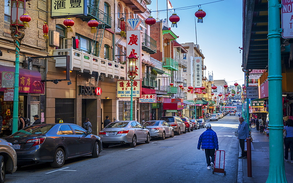 View of busy street in Chinatown, San Francisco, California, United States of America, USA