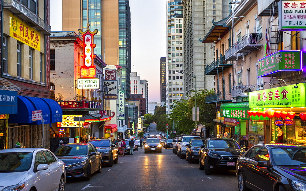 View of traditionally decorated street in Chinatown at dusk, San Francisco, California, United States of America, North America - 1276-492