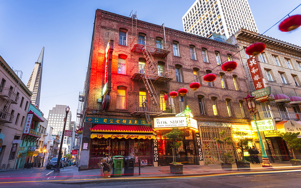 View of traditionally decorated street in Chinatown at dusk, San Francisco, California, United States of America, North America - 1276-495