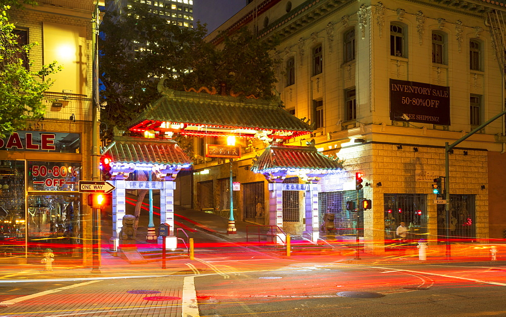 Dragon's Gate and car trail lights at night, Chinatown, San Francisco, California, United States of America, USA - 1276-496