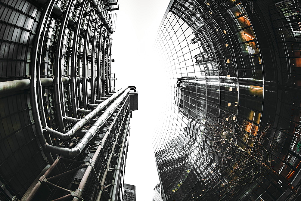 Fisheye view of Lloyds and Willis buildings, financial district, City of London, England, United Kingdom, Europe - 1276-50