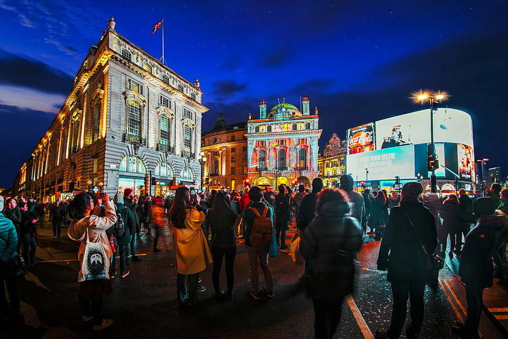 Illuminated building on Piccadilly Circus and Regent Street during London Lumiere, London, England, United Kingdom, Europe