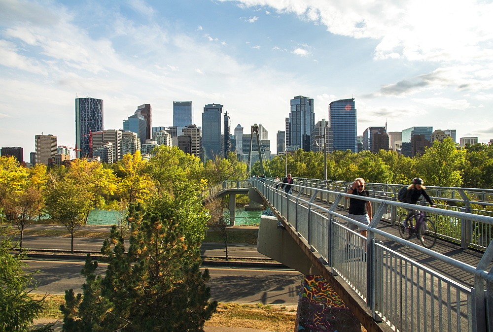 View of Bow River and Downtown from Sunnyside Bank Park, Calgary, Alberta, Canada, North America
