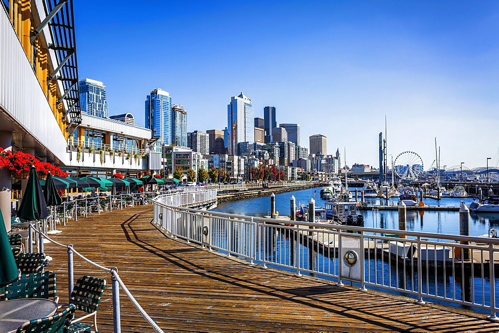 Seattle skyline on sunny day from Bell Harbor Marina, Seattle, Washington State, United States of America, North America