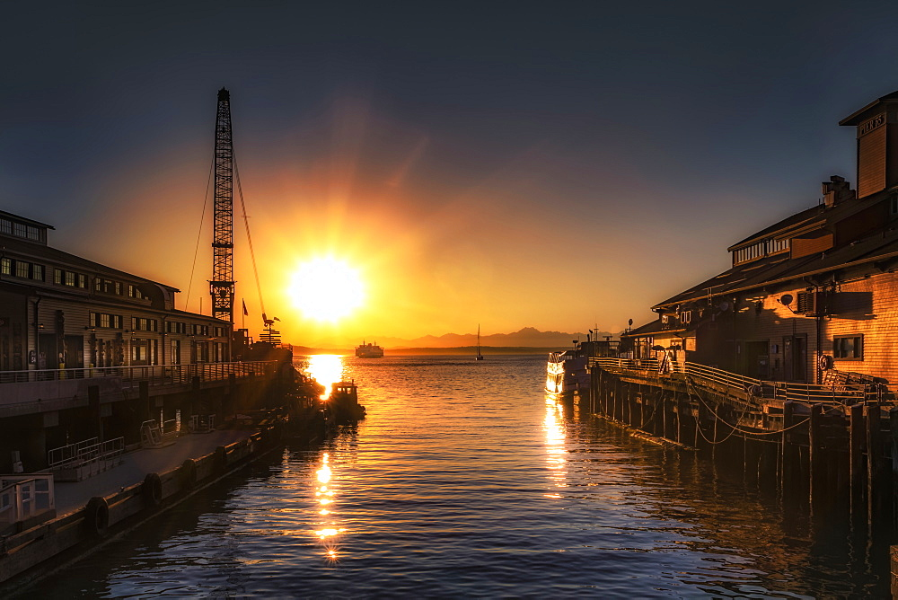 Stunning sunset over Pier 55 in Seattle, Washington State, United States of America, North America